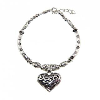 Tibetan Silver Bracelet and Heart Charm (China)