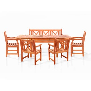 Bana Dining Set with Large Rectangular Table, 3-seater Bench and 4 Armchairs