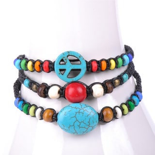 Thai-handicraft Set of 3 Turquoise Red Coral and Multicolored Wooden Beads Waxcord Bracelets (Thailand)