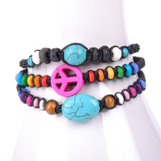 Thai-handicraft Set of 3 Turquoise and Multicolored Wooden Beads Wax Cord Bracelets (Thailand)
