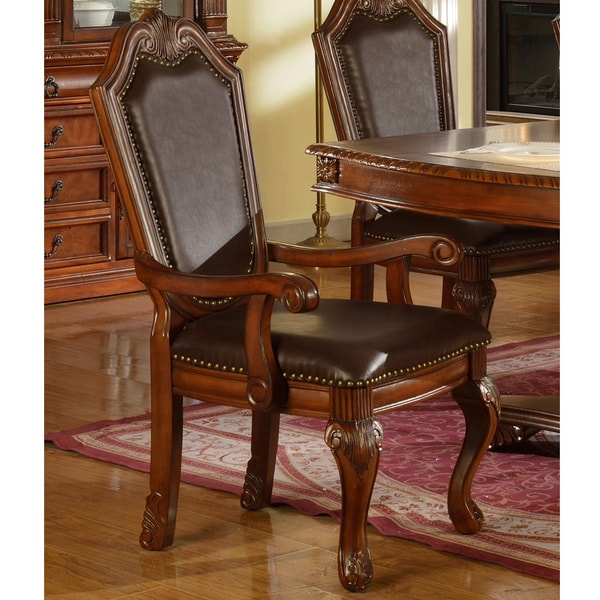 Cervera Faux Leather Formal Dining Arm Chairs (Set of 2)