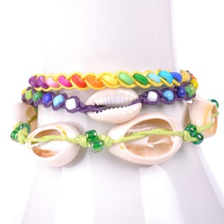 Thai-handicraft Multicolored Wood Beads and Sea Shells Wax Cord Bracelets (Thailand)