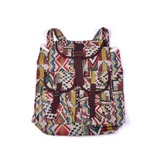Hand-crafted Cotton Multicolored Flap-over Top Backpack (Thailand)