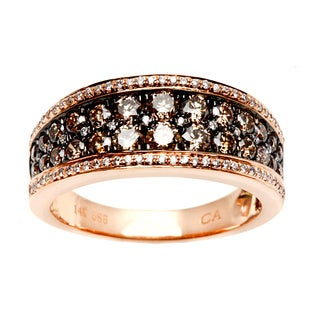 14k Rose Gold 1 1/5ct TDW Brown and White Diamond Ring (H-I, I1-I2)