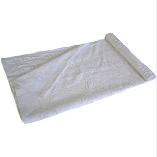 Handmade White Cotton Cutwork Bedspread (India)