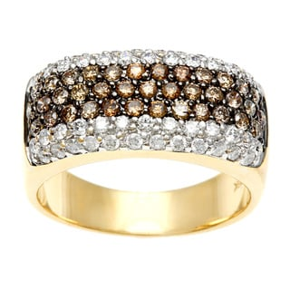18k Yellow Gold 1 1/5ct TDW Brown and White Diamond Ring (H-I, I1-I2)