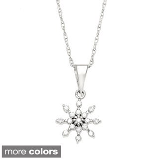 10k Gold 1/10ct TDW Diamond Snowflake Necklace (I-J, I2-I3)