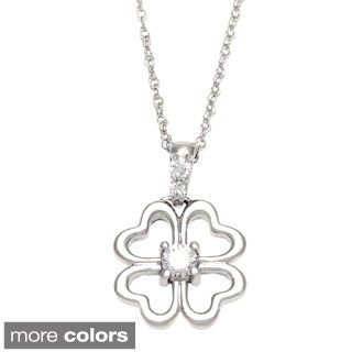10k White or Yellow Gold 1/10ct TDW Diamond Heart Clover Necklace