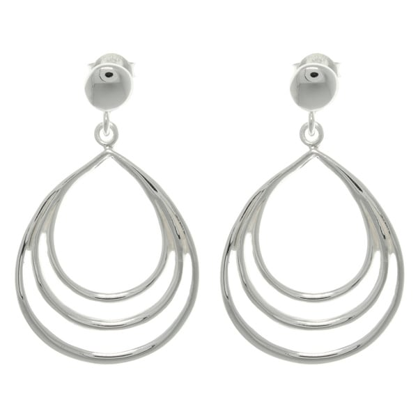 Carolina Glamour Collection Sterling Silver Triple Teardrop Earrings