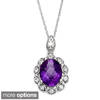10k White Gold Gemstone Oval Pendant