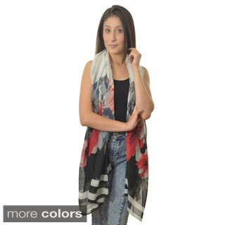 LA77 Floral and Stripes Scarf