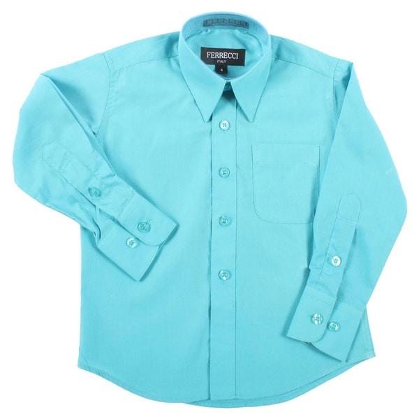 Ferrecci Boys Turquoise Collared Dress Shirt