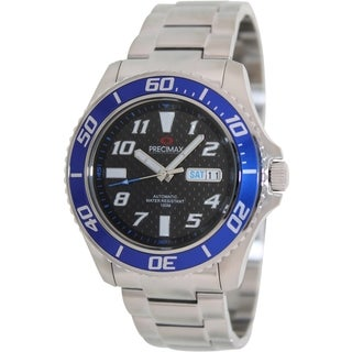 Precimax Men's Aqua Classic Automatic PX13222 Silver Stainless-Steel Black Dial Automatic Watch