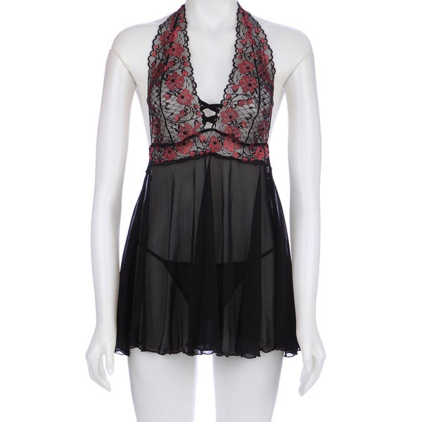 Lace & Mesh Halter Babydoll & G-String in Missy and Queen in Black by Rene Rofe