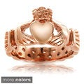 ELYA Designs Gold Plated or Rose Plated Stainless Steel 4 MM Claddagh Ring