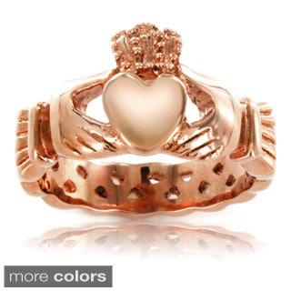ELYA Gold Plated or Rose Plated Stainless Steel 4 MM Claddagh Ring