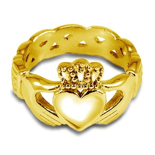 Yellow Stainless Steel 6 MM Celtic Eternity Claddagh Ring
