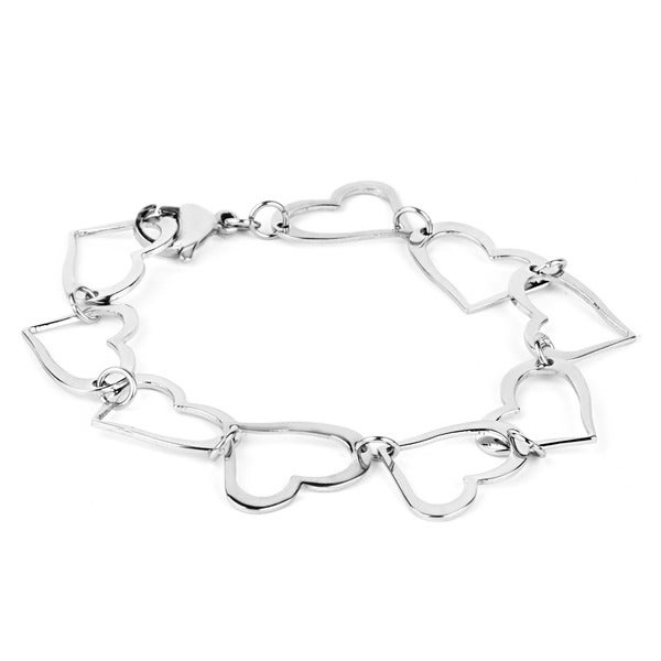 ELYA Stainless Steel Open Heart Link Bracelet