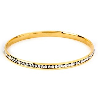 ELYA Stainless Steel Cubic Zirconia Bangle Bracelet