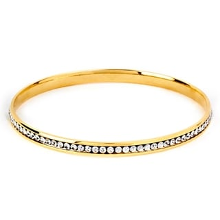 ELYA Designs Stainless Steel Cubic Zirconia Bangle Bracelet