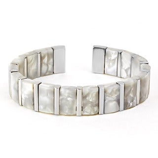 West Coast Jewelry Stainless Steel Mother of Pearl Cuff Bracelet