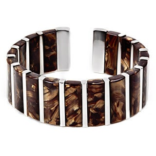 Steel Brown Dyed Mother of Pearl Cuff Bracelet
