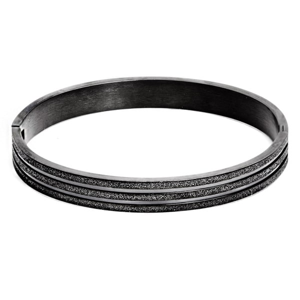 Black-plated Stainless Steel Sandblasted Bracelet 11834306