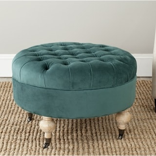 Clara Marine Cotton Fabric Round Ottoman