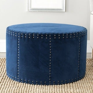Sherri Navy Cotton Fabric Ottoman