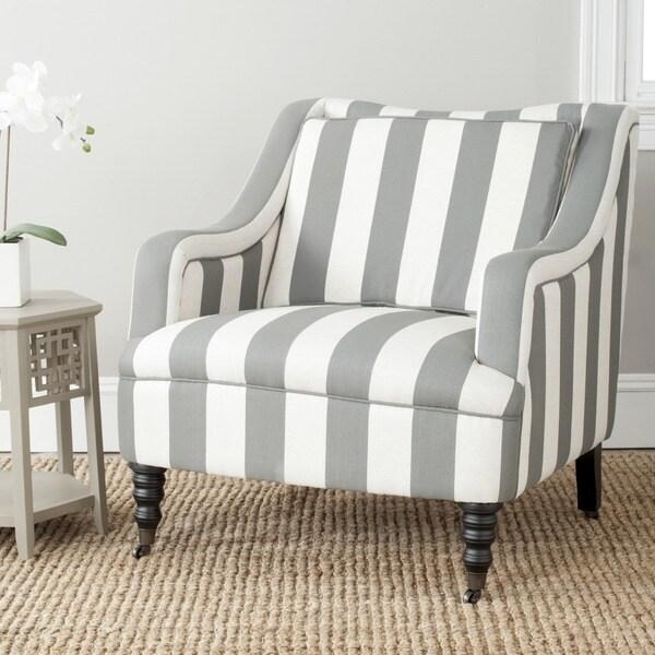 Safavieh Homer Greyish Blue/ White Stripe Arm Chair