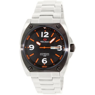 Precimax Men's Fortis Automatic PX13210 Silver Stainless-Steel Black Dial Automatic Watch