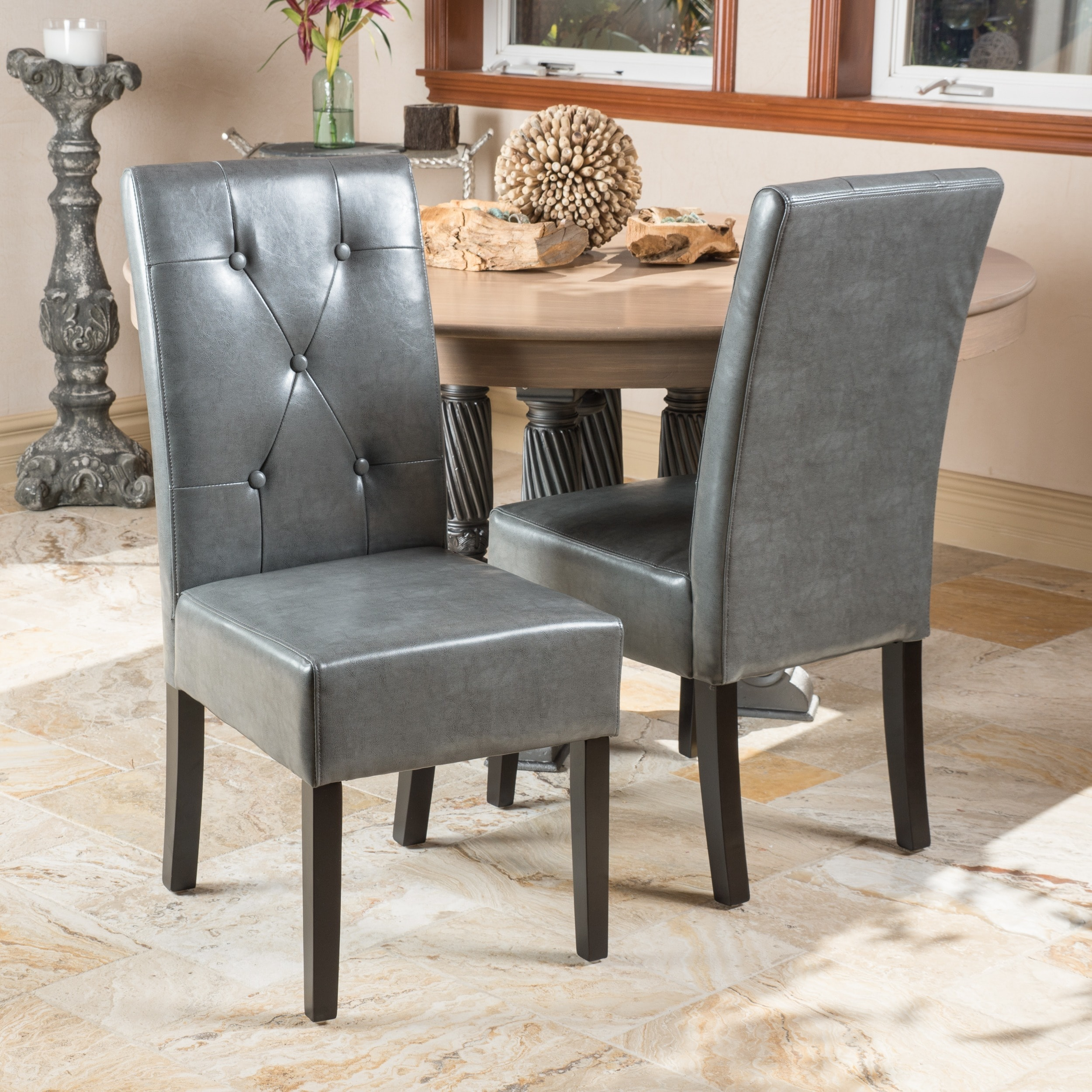 christopher knight home taylor grey bonded leather dining chair set of 2 overstock shopping. Black Bedroom Furniture Sets. Home Design Ideas