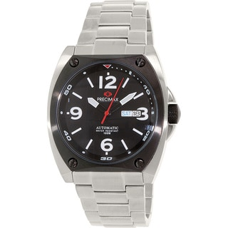 Precimax Men's Fortis Automatic PX13209 Silver Stainless-Steel Black Dial Automatic Watch