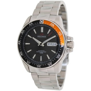 Precimax Men's Propel Automatic PX13199 Silver Stainless-Steel Black Dial Automatic Watch