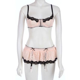 Rene Rofe Hookin' Up Pink Bra Skirt & G-String Set