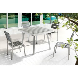 Township Grey Brushed Aluminum Square Dining Table