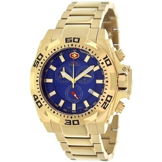 Swiss Precimax Men's Quantum Pro SP13272 Gold Stainless-Steel Blue Dial Swiss Chronograph Watch