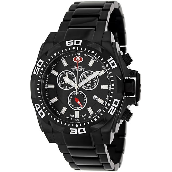 Swiss Precimax Men's Quantum Pro SP13180 Black Stainless-Steel Black Dial Swiss Chronograph Watch