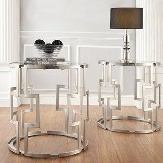Mundo Contemporary Cylindrical Crossed Chrome-framed Glass Top Side Table