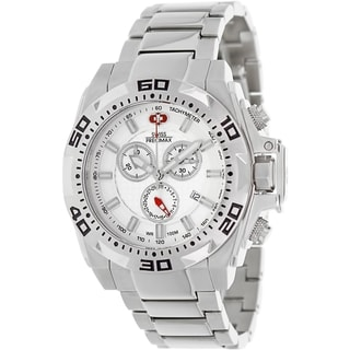 Swiss Precimax Men's Quantum Pro SP13179 Silver Stainless-Steel White Dial Swiss Chronograph Watch