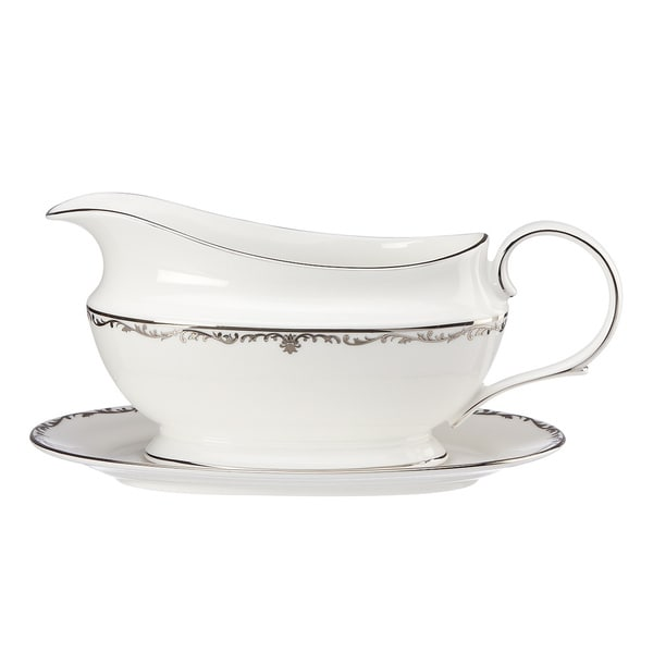 Lenox Coronet Platinum Sauce Boat and Stand