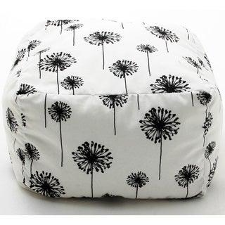BeanSack White and Black Dandelion Print Cube Bean Bag Ottoman