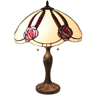 Tiffany Style Scalloped Floral Table Lamp