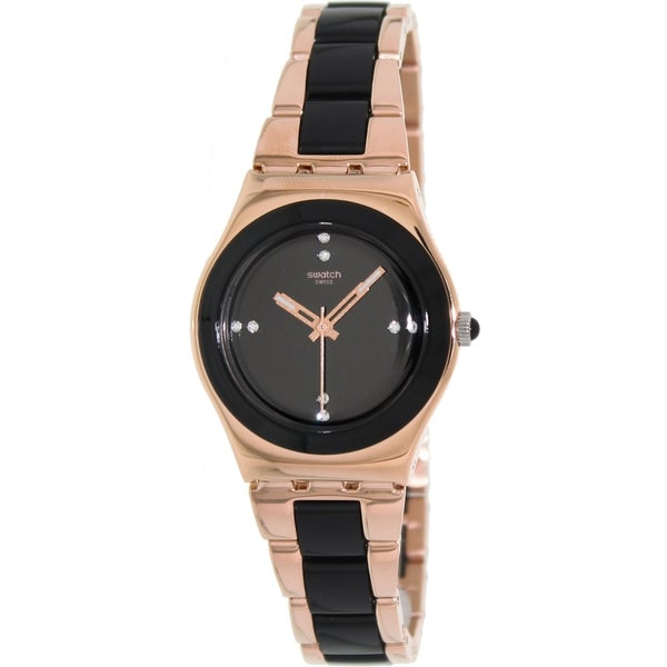 Swatch Women's Irony YLG123G Two-Tone Stainless-Steel Swiss Quartz Watch with Black Dial