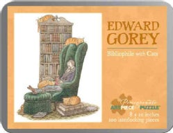Edward Gorey - Bibliophile With Cats: 100 Piece Puzzle (General merchandise)
