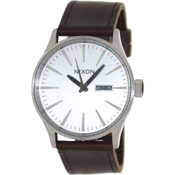 Nixon Men's Sentry Ss A1051113-00 Brown Leather Quartz Watch with Silver Dial