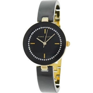 Anne Klein Women's AK-1314BKBK Two-Tone Ceramic Quartz Watch with Black Dial