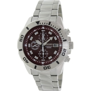Seiko Men's SNDE15 Silver Stainless-Steel Quartz Watch with Red Dial