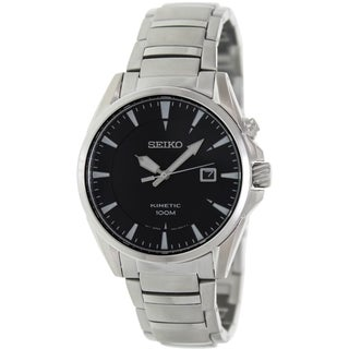 Seiko Men's Kinetic SKA565 Silver Stainless-Steel Seiko Kinetic Watch with Black Dial
