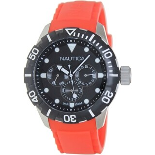 Nautica Men's N13645G Red Polyurethane Quartz Watch with Black Dial